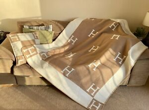 New Turkish Cashmere H Blanket / Throw / Pillow / Cushion, Hermes Fast Delivery!
