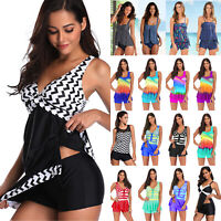 Women Boy Shorts Tankini Set Swimdress Swimsuit Swimwear Summer Bikini Plus Size