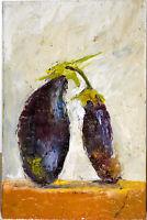 Dark blue eggplants Original OIL PAINTING Canvas 8 x 14 Still Life