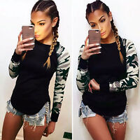 Women Long Sleeve Camo Twill Splice T-Shirt Crew Neck Casual Top Blouse Pullover