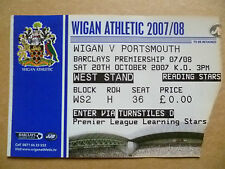 Ticket- 2007 WIGAN v PORTSMOUTH, Barclays Premiership, 20 Oct