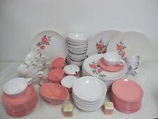 BOONTON SOMERSET MELMAC HUGE SET 97 PCS PINK ROSE GRAY  WHITE VINTAGE DINNERWARE