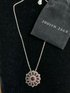 Judith Jack .925 Sterling Marcasite & Red Stone Round Pendant Necklace
