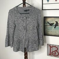 Tribal Women's M Gray Button Scoop Neck 3/4 sleeve Cardigan Sweater NWOT