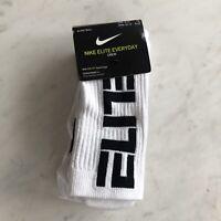 Nike ELITE Everyday DRI-FIT Crew Socks Basketball Size 8-12 Large White & Black