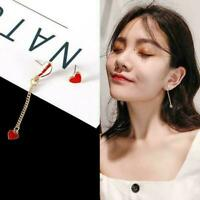 Girl Red Heart-Shaped Heart Earrings Fashion Asymmetrical Earrings Ear Stub