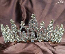 "Awesome Wedding Tiaras 3"" Gold Plated Pageant Crowns Clear Rhinestone Prom Party"