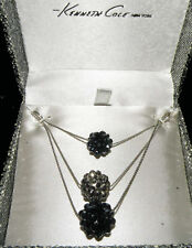 Silver Crystal Cluster Ball Pendant Necklace New Kenneth Cole Dark Purple &
