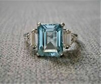 3 Ct Emerald Cut Aquamarine Diamond Valentine Day Gift Ring 14k White Gold Over