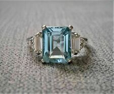 3 Ct Emerald Cut Aquamarine Diamond Solitaire Engagement Ring 14k White Gold FN