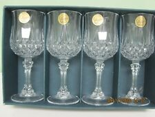 Cristal d'arques longchamp 24% lead crystal 5.75 oz stemmed 4 wine glasses: NIB
