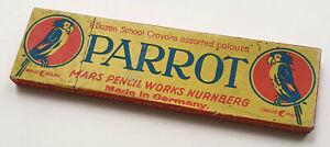 MARS Schachtel Pappe antik für 6 Schulkreiden Marke Parrot, leer, USA 1925, RAR!