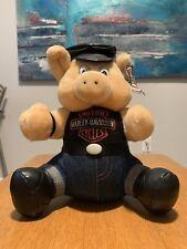 "Harley Davidson Motorcycles 10"" Pig Plush Hog Biker Hat Stuffed Animal 1993"