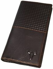 Men's Leather Long Wallet 11 Card Slots ID Window Zippered Coin Pocket Purse