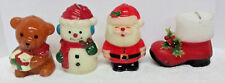 Holiday Candles Bear Snowman Santa Red Boot Unused