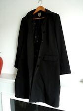 Ladies Lovely TU Black Knee Length Classy Button Lined Coat Mac Size 12, Bnwot