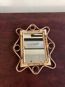 "Vintage Rattan Bamboo Mirror-9.5""x11.5"""