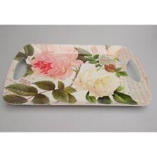 Serviertablett ROSENGARTEN weiß rosa Melamin 47x33cm Creative Tops