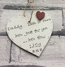 Fathers day gift personalised wooden heart plaque for dad daddy grandad grandpa
