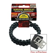 Para-cord Survival Bracelet Black MilitaryGrade 7ft Free MultiTool w/ purchase