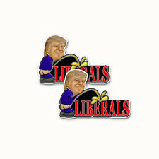 Trump Peeing On Liberals Bumper Sticker Decal anti Feminest News Media 2pack