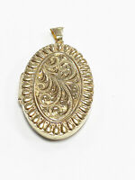 9ct  Hallmarked Yellow Gold ' Pre - Owned '  Fancy Patterned Oval Locket.