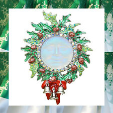Wreath Pin Pendant St with Scarf Kirks Folly Seaview Glass Moon Christmas Holly