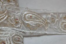 """2.3 yards white gold sequin paisley organza sewing ribbon Trim 1.75"""" wide t689"""