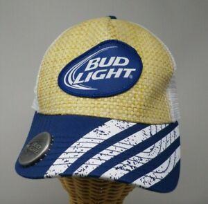 Official Bud Light Bottle Opener Cap Hat Truckers Style Mesh Snapback Straw