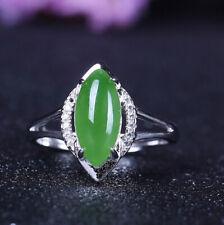 D02 Ring grüner Jaspis Auge Sterling Silber 925 größenverstellbar