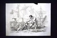 Incisione d'allegoria e satira Ancona resiste assedio Austria Don Pirlone 1851