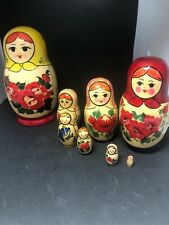 Vintage Matryoshka - Eight Hand Turned & Painted Russian Nesting Dolls