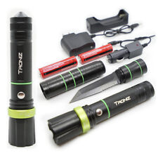 Tactical LED Flashlight w/ Knife Adjustable Beam Survival Home Outdoor 18650