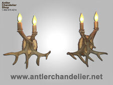 REAL ANTLER WHITETAIL SCONCE 2 LIGHTS  Rustic Lamps, ACS Lights, Chandelier SC2