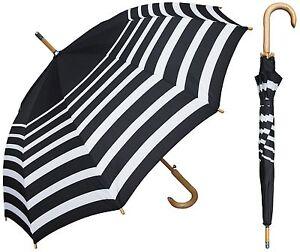 "48"" Arc Black/White Stripe Auto Umbrella - RainStoppers Rain/Sun UV"