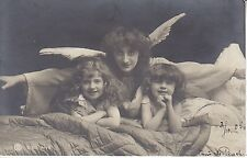 RPPC angel two girls protecting the children 1905 signed by studio 5856