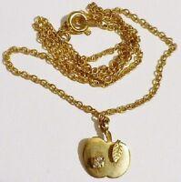 collier pendentif pomme bijou vintage couleur or cristal diamant feuille * 5030