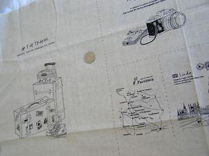 ZAKKA Cotton Linen Fabric Art of Travel Paris 115x58cm