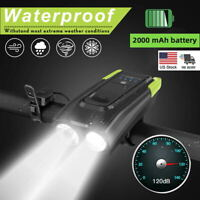 Waterproof Bike Headlight Super Bright Bicycle Front Lamp USB Rechargeable +Horn