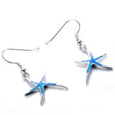 Fashion Jewelry 925 Silver Blue Starfish Fire Opal Pendant Stud Earrings