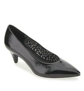Womens Black Kitten Heels Size 4 Extra Wide Fit Low Heel Pointed Court Shoes NEW