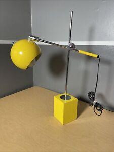 VINTAGE MCM Adjustable Desk Lamp EyeBall Space Atomic Yellow USA