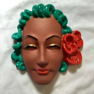 ART DECO  style wall mask plaque, chalkware lady  / REPRODUCTION