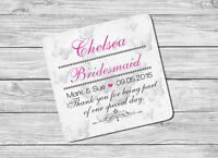 Personalised Chief Bridesmaid Name /& Date Drink Coaster Mat Wedding Day Gift