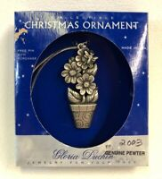 Gloria Duchin Pewter Christmas Tree Ornament Flower Pot Floral 2001 Made In USA