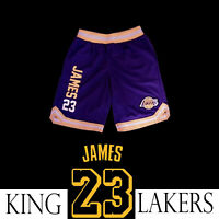 "Kids Boys Girls Lebron James Los Angeles Lakers ""23"" NBA Printed Shorts Purple"