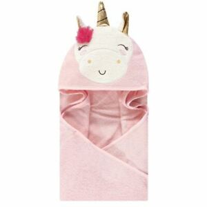 Luvable Friends Animal Face Hooded Towel, Pink Unicorn