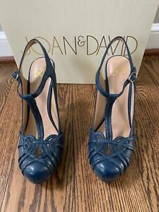NEW Joan & David Platform Heels Dareith Blue Strappy Buckle Leather Shoes 6.5
