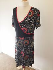 Joe Browns Dress UK 16 Black and Red Floral Tribal Stretch Short Sleeve Bodycon