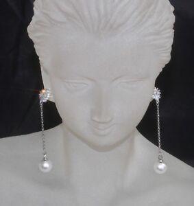 Created Diamond Flower & Pearl 925 Sterling Silver 6.2cm Dangle Earrings